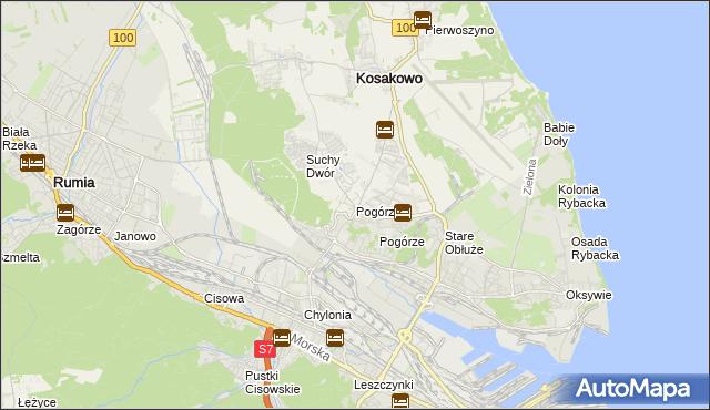 mapa Pogórze gmina Kosakowo, Pogórze gmina Kosakowo na mapie Targeo