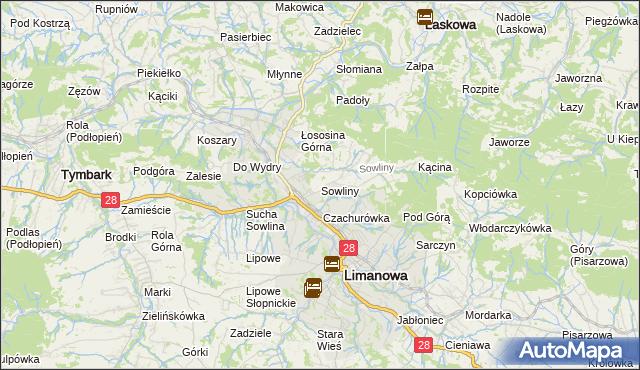 mapa Sowliny, Sowliny na mapie Targeo