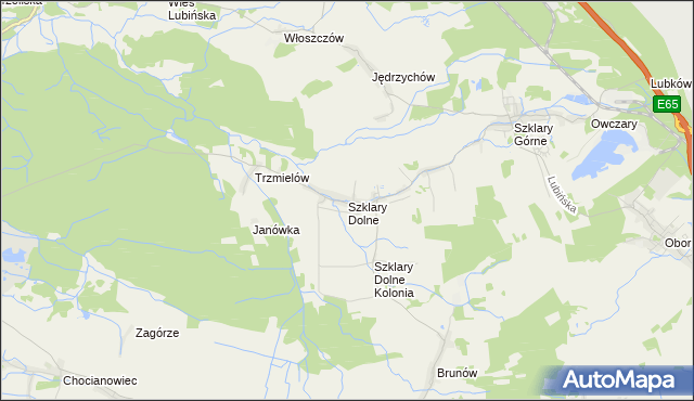 mapa Szklary Dolne, Szklary Dolne na mapie Targeo
