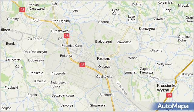 mapa Krosna, Krosno na mapie Targeo