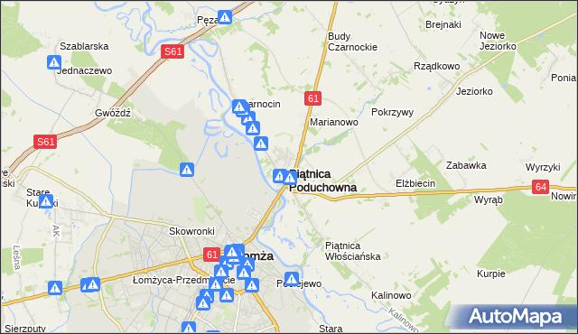 mapa Piątnica Poduchowna, Piątnica Poduchowna na mapie Targeo