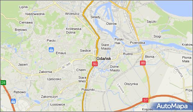 mapa Gdańska, Gdańsk na mapie Targeo