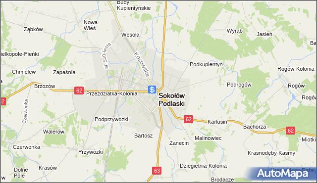 mapa Sokołów Podlaski, Sokołów Podlaski na mapie Targeo