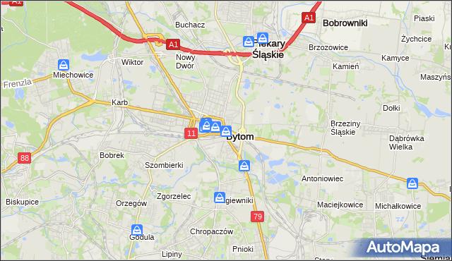 mapa Bytomia, Bytom na mapie Targeo