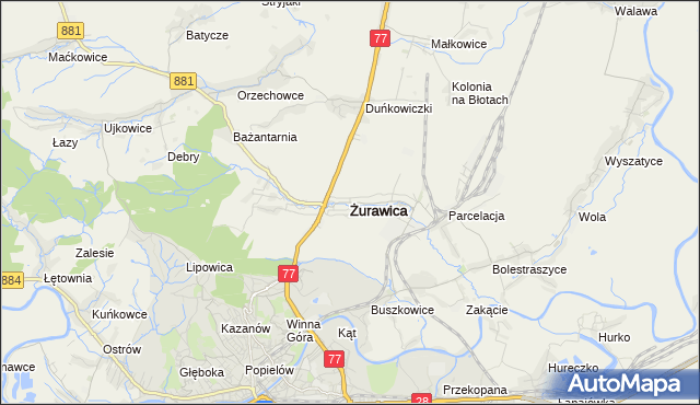 mapa Żurawica powiat przemyski, Żurawica powiat przemyski na mapie Targeo