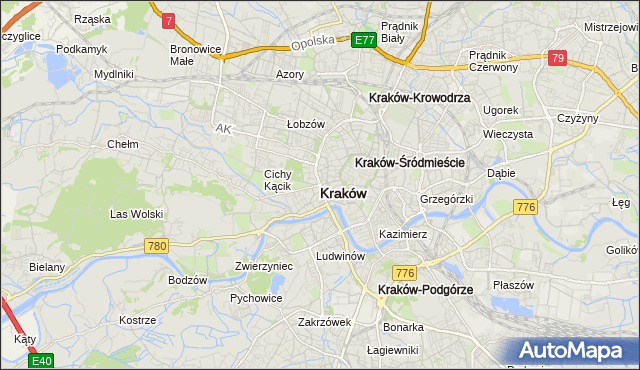 mapa Krakowa, Kraków na mapie Targeo