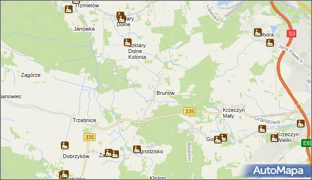 mapa Brunów gmina Chocianów, Brunów gmina Chocianów na mapie Targeo