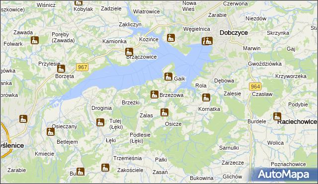 mapa Brzezowa gmina Dobczyce, Brzezowa gmina Dobczyce na mapie Targeo