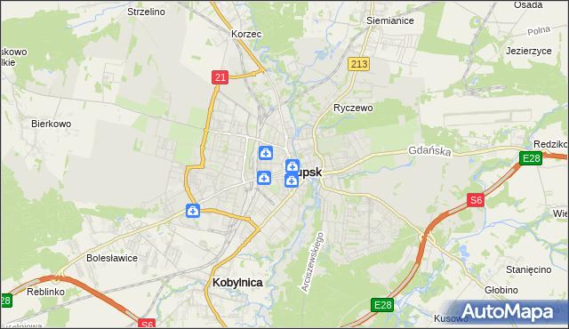 mapa Słupska, Słupsk na mapie Targeo