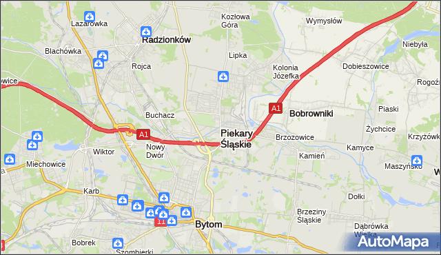 mapa Piekary Śląskie, Piekary Śląskie na mapie Targeo