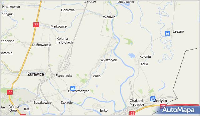 mapa Wyszatyce, Wyszatyce na mapie Targeo