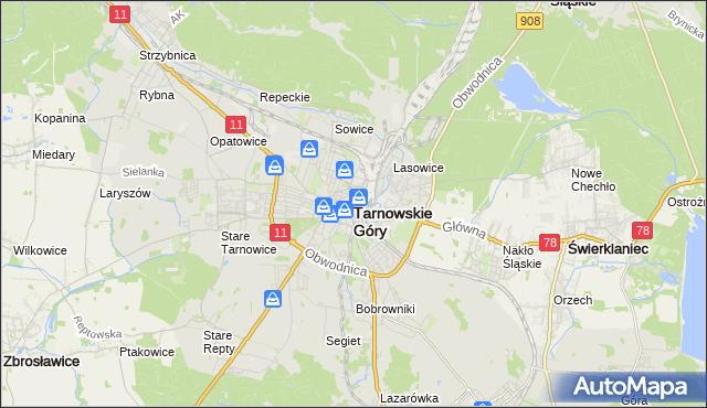 mapa Tarnowskie Góry, Tarnowskie Góry na mapie Targeo