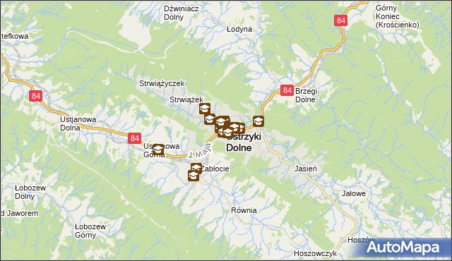 mapa Ustrzyki Dolne, Ustrzyki Dolne na mapie Targeo