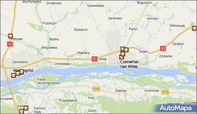mapa Wola gmina Czerwińsk nad Wisłą, Wola gmina Czerwińsk nad Wisłą na mapie Targeo