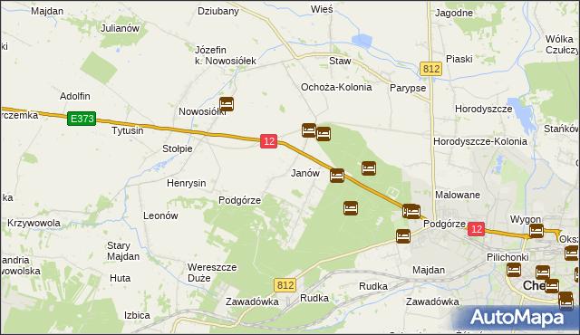 mapa Janów gmina Chełm, Janów gmina Chełm na mapie Targeo