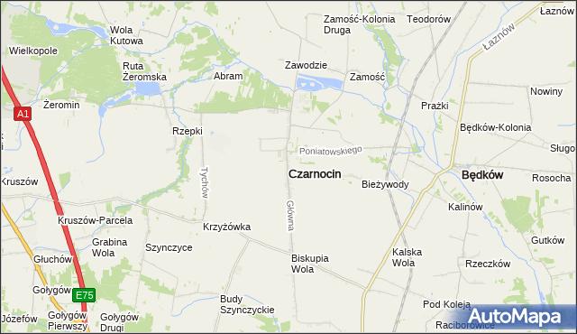 mapa Czarnocin powiat piotrkowski, Czarnocin powiat piotrkowski na mapie Targeo