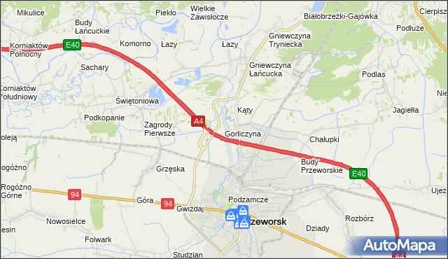 mapa Gorliczyna, Gorliczyna na mapie Targeo
