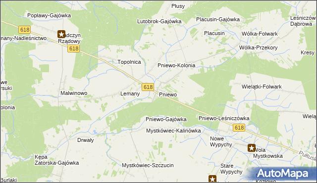 mapa Pniewo gmina Zatory, Pniewo gmina Zatory na mapie Targeo