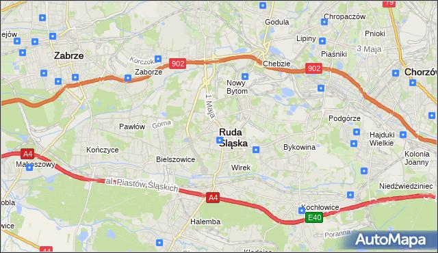 mapa Rudy Śląskiej, Ruda Śląska na mapie Targeo