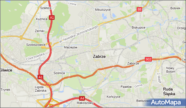 mapa Zabrza, Zabrze na mapie Targeo