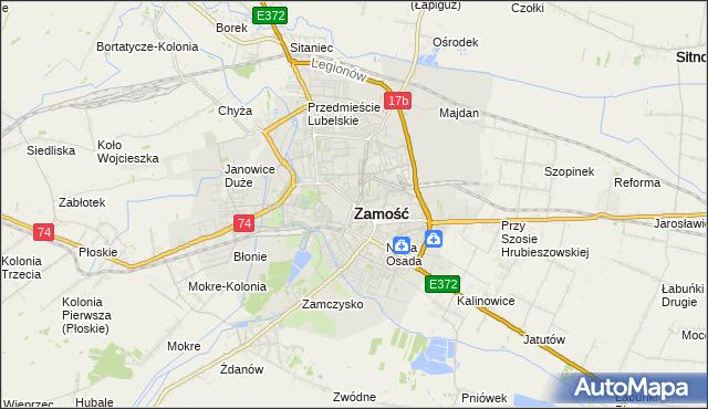 mapa Zamościa, Zamość na mapie Targeo