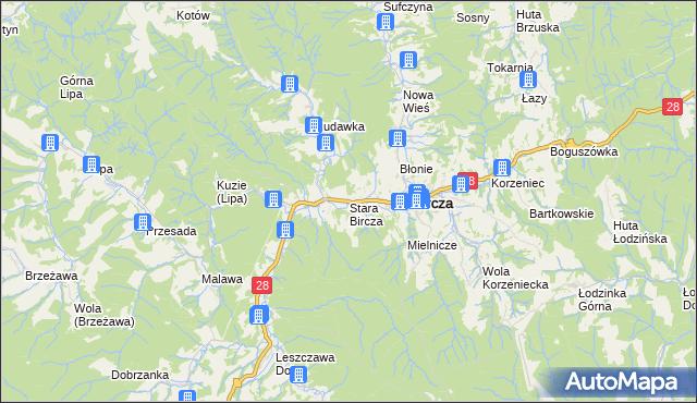 mapa Stara Bircza, Stara Bircza na mapie Targeo