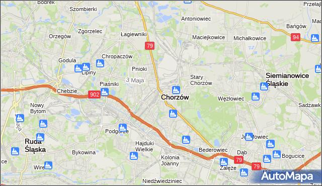 mapa Chorzów, Chorzów na mapie Targeo