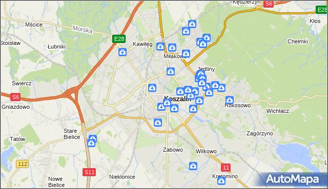 mapa Koszalina, Koszalin na mapie Targeo