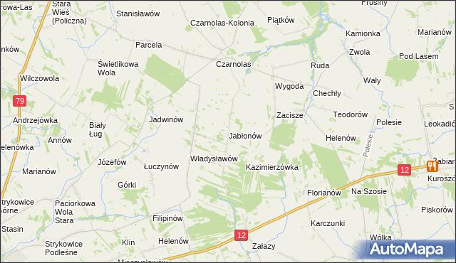 mapa Jabłonów gmina Policzna, Jabłonów gmina Policzna na mapie Targeo