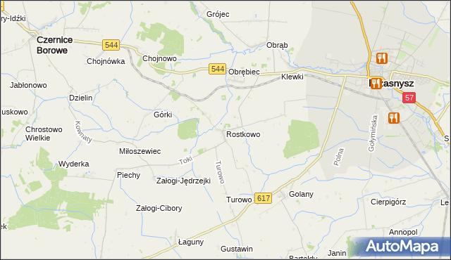 mapa Rostkowo gmina Czernice Borowe, Rostkowo gmina Czernice Borowe na mapie Targeo