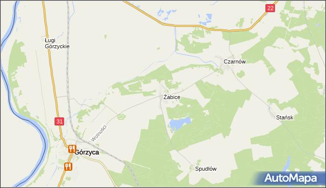 mapa Żabice gmina Górzyca, Żabice gmina Górzyca na mapie Targeo