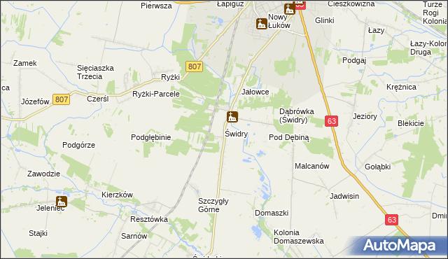 mapa Świdry gmina Łuków, Świdry gmina Łuków na mapie Targeo
