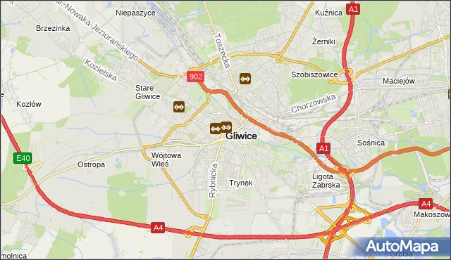 mapa Gliwic, Gliwice na mapie Targeo