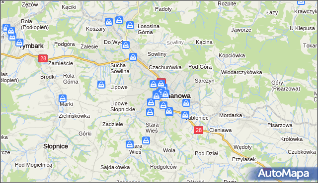 mapa Limanowa, Limanowa na mapie Targeo