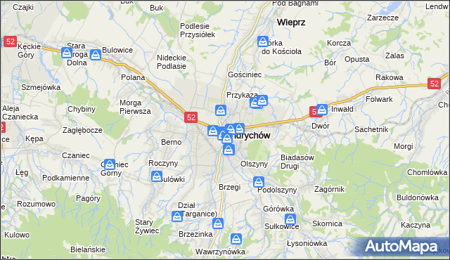 mapa Andrychów, Andrychów na mapie Targeo