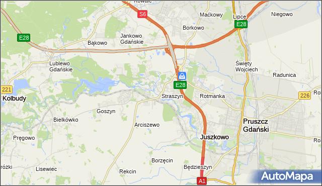 mapa Straszyn, Straszyn na mapie Targeo