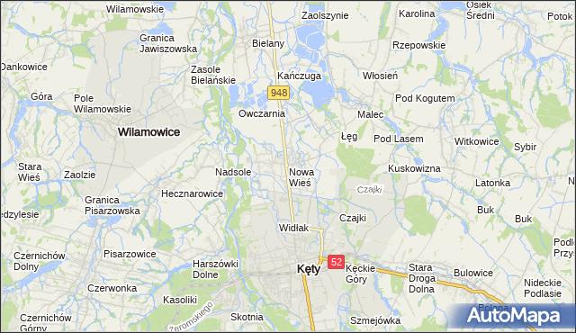 mapa Nowa Wieś gmina Kęty, Nowa Wieś gmina Kęty na mapie Targeo