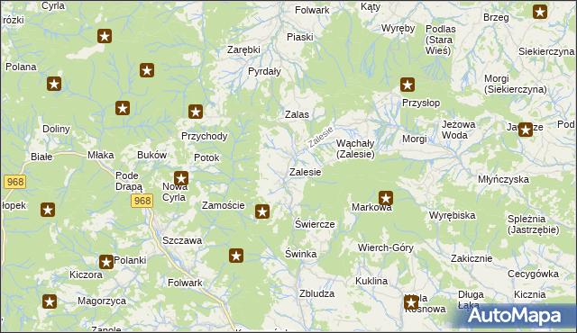 mapa Zalesie gmina Kamienica, Zalesie gmina Kamienica na mapie Targeo