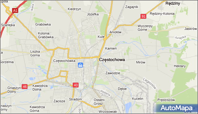 mapa Częstochowy, Częstochowa na mapie Targeo