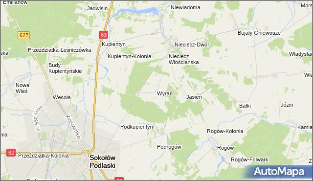mapa Wyrąb gmina Sokołów Podlaski, Wyrąb gmina Sokołów Podlaski na mapie Targeo