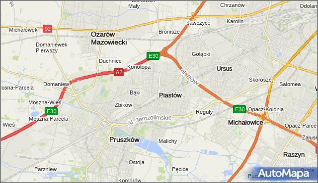 mapa Piastów powiat pruszkowski, Piastów powiat pruszkowski na mapie Targeo