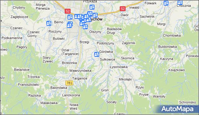 mapa Sułkowice gmina Andrychów, Sułkowice gmina Andrychów na mapie Targeo