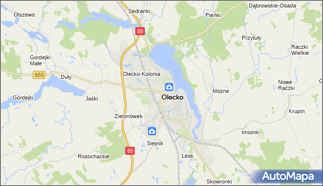 mapa Olecko, Olecko na mapie Targeo