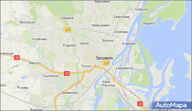 mapa Szczecina, Szczecin na mapie Targeo