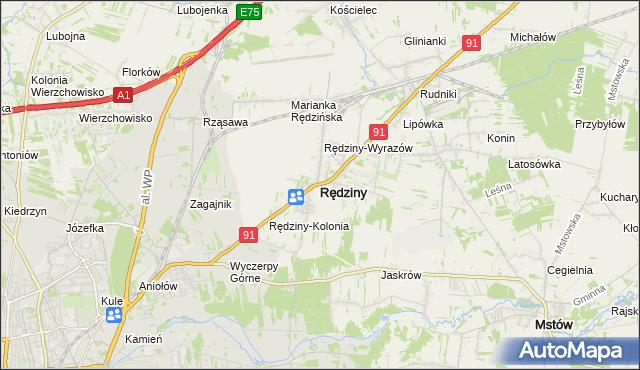 mapa Rędziny powiat częstochowski, Rędziny powiat częstochowski na mapie Targeo