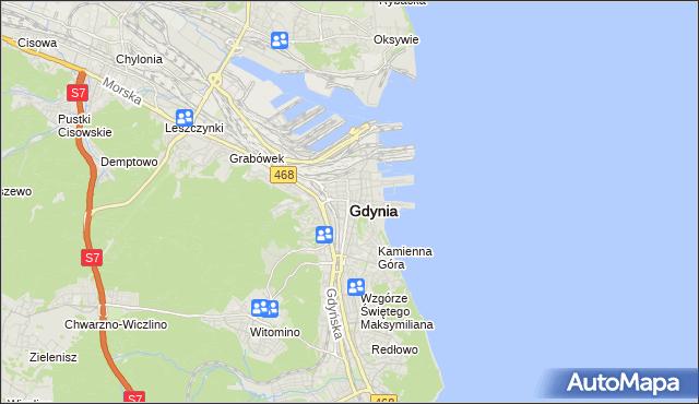 mapa Gdyni, Gdynia na mapie Targeo