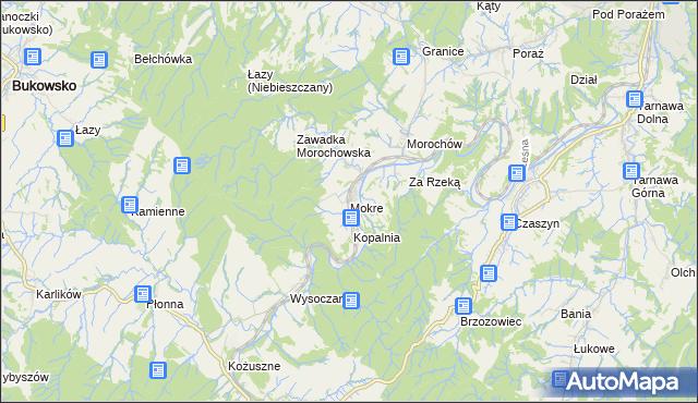mapa Mokre gmina Zagórz, Mokre gmina Zagórz na mapie Targeo