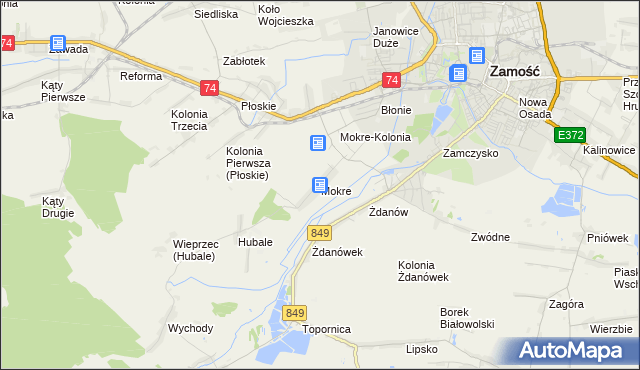 mapa Mokre gmina Zamość, Mokre gmina Zamość na mapie Targeo