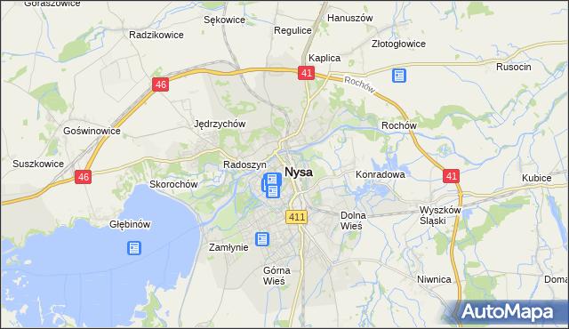 mapa Nysy, Nysa na mapie Targeo