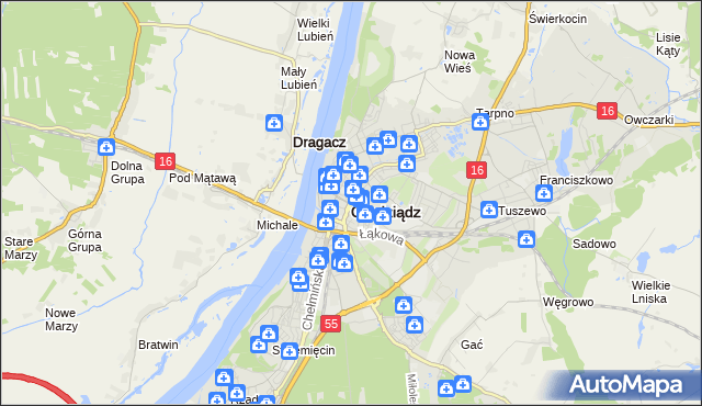 mapa Grudziądza, Grudziądz na mapie Targeo